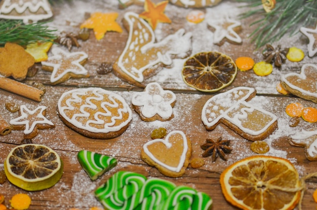 Christmas cookie and candy closeup