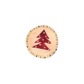 最小限のスタイルの水彩画の赤いトウヒジャムとクリスマスクッキー
