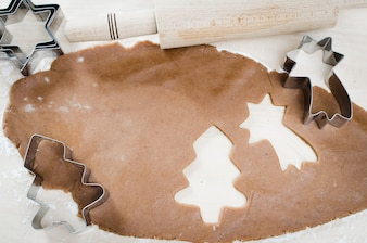 Christmas cookies. Gingerbread dough with spice.