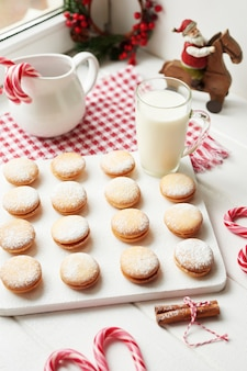 Christmas cookies, milk, cocoa, marshmallows, meringues on plate