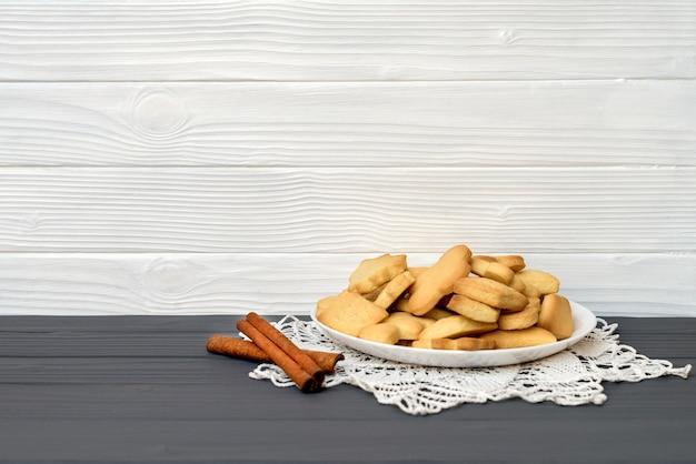 Christmas cookies on rustic wood table