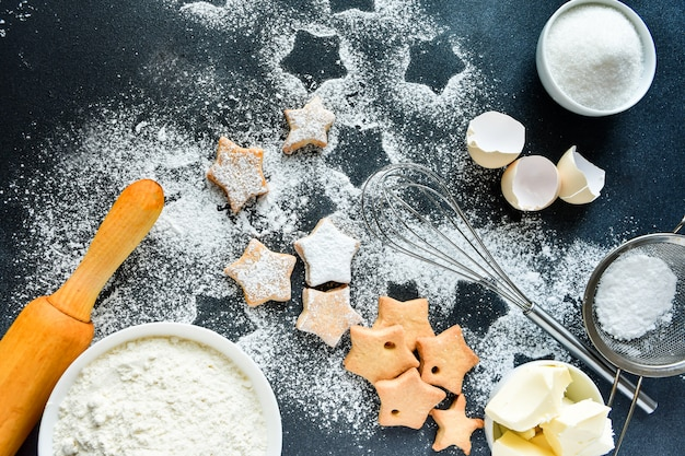 Christmas cookies in the shape of stars