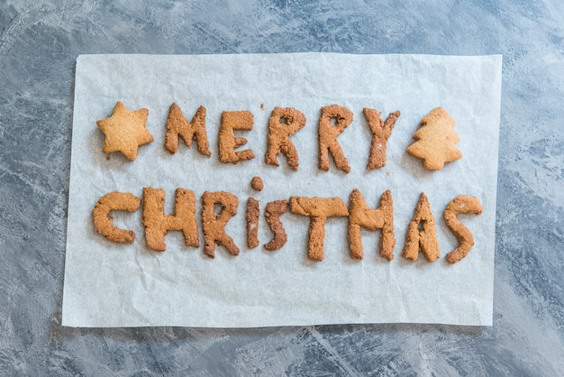 Christmas cookies with the letters merry christmas