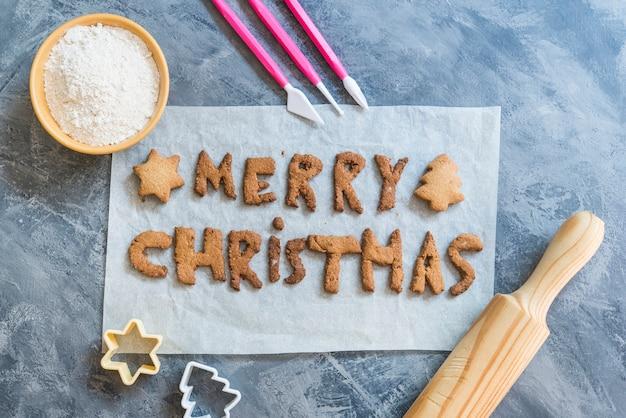 メリークリスマス2021の文字でクリスマスクッキー