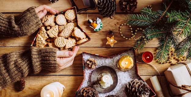 Christmas cookies on a wooden background. long banner