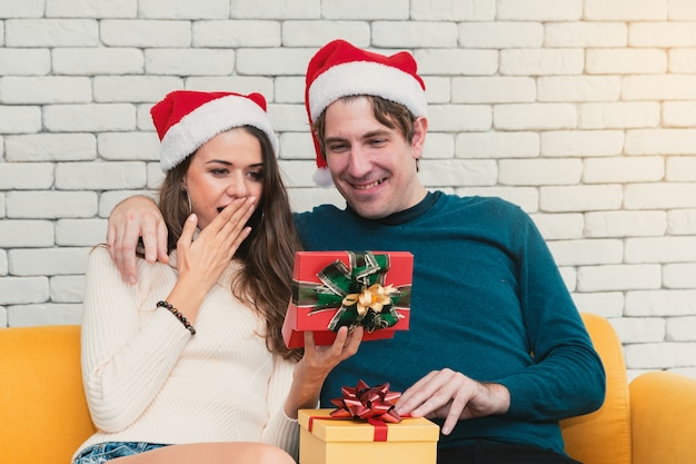 Christmas couple with present