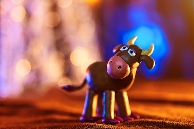 Christmas cow from plasticine
