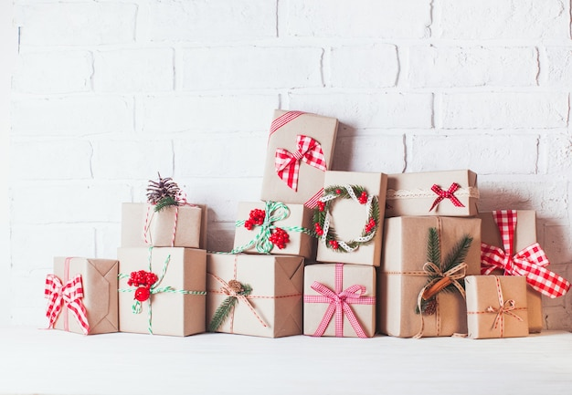 Christmas craft boxes decorated in vintage eco style