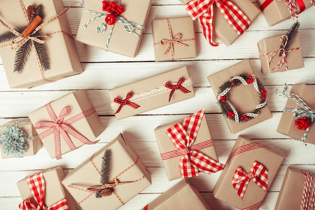 Christmas craft boxes decorated in vintage style, top view