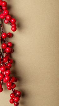 左の境界線に赤いベリーやガマズミ属の木の枝が付いたテキストまたはコピースペースの場所が付いたクリスマスクラフトの茶色のバナー。垂直