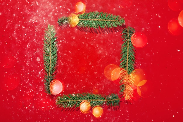 Christmas creative background made in traditional colors