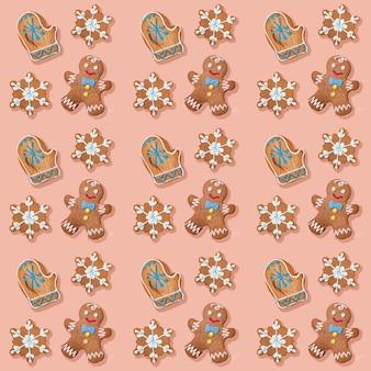 Рождественский творческий бесшовный образец праздничных пряников: пряничные человечки, снежинки и варежки санты на нежном розовом фоне. рождественские праздничные украшения. квадратное фото. вид сверху.