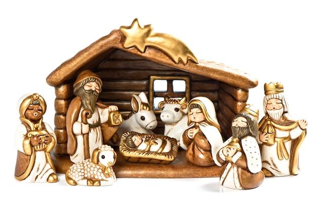 크리스마스 침대. 성탄절 장면. 거룩한 가족. 예수 그리스도, 마리아와 요셉과 세 왕