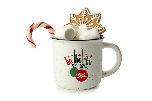 Christmas cup with marshmallow, gingerbread, and candy