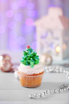 クリスマスのカップケーキ、クローズアップ