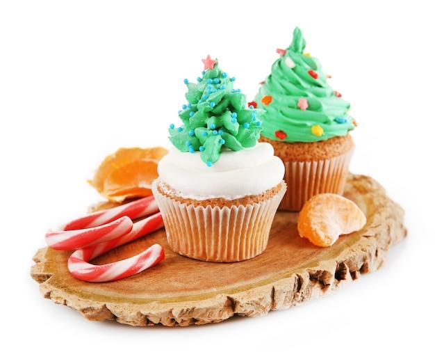 흰색 절연 크리스마스 컵 케이크