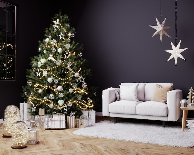 Christmas dark living room interior in scandinavian style. christmas tree with gift boxes and twinkle, white sofa on wall mockup, 3d render