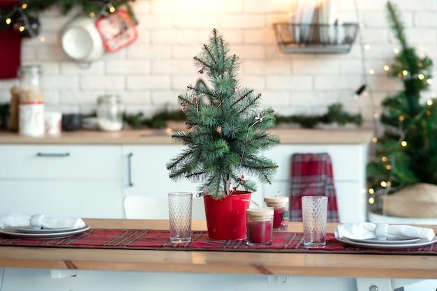 キッチンのクリスマスの装飾