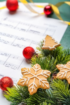 Christmas decor and music sheet with notes