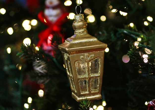 Christmas decor in the shape of a lantern.background with bokeh.