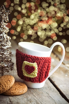 Christmas decor with bokeh at the wooden table