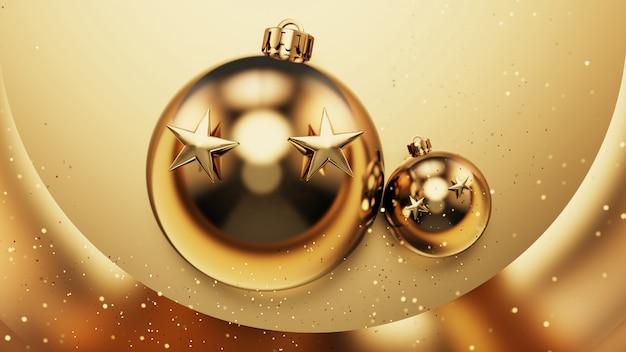 ゴールドの背景にクリスマスを飾ります。 3dイラストレーション