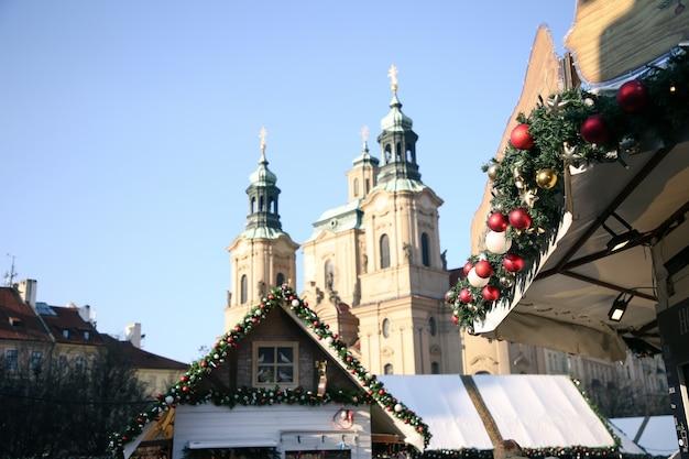 프라하의 크리스마스 장식 광장