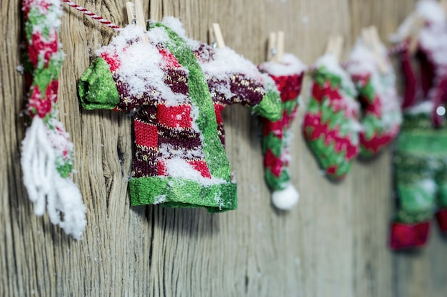 Christmas decoration air drying clothes in winter