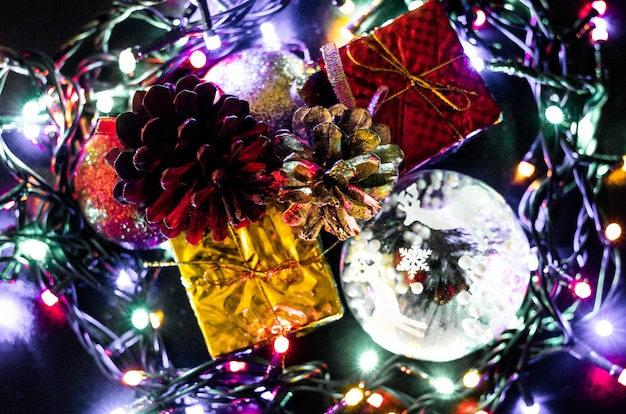 Christmas decoration background, new year background, multicolor lights