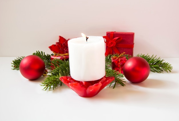 Christmas decoration background with candle