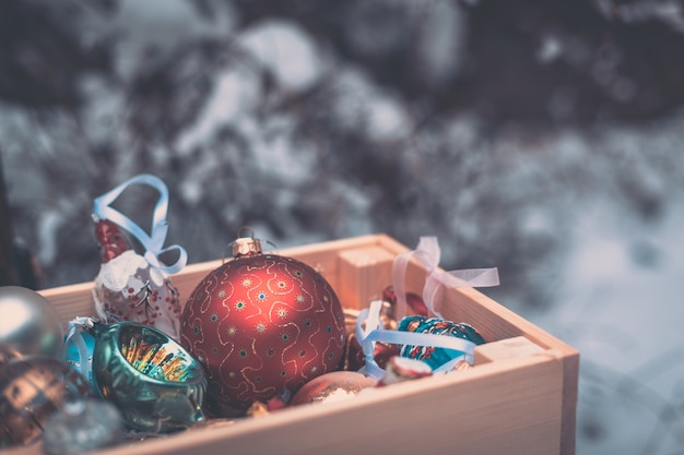 Christmas decoration balls in a wooden box