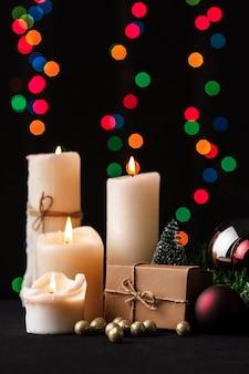 Christmas decoration. blurred lights background.