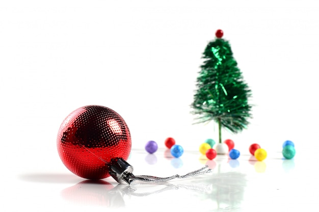 Christmas decoration: christmas ball and ornaments with the branch of christmas tree
