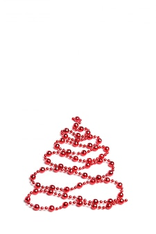 Christmas decoration, christmas tree of ornament with balls on white background
