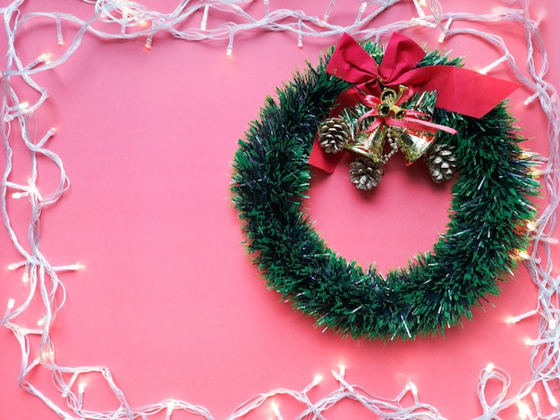Christmas decoration. copy space for add text and pink background.