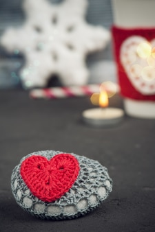 Christmas decoration crochet stone
