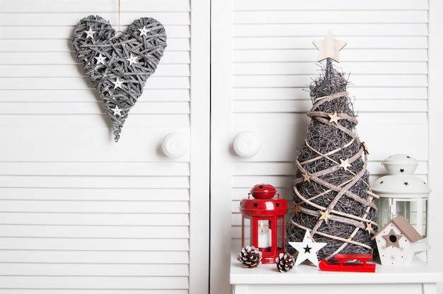Christmas decoration on door background