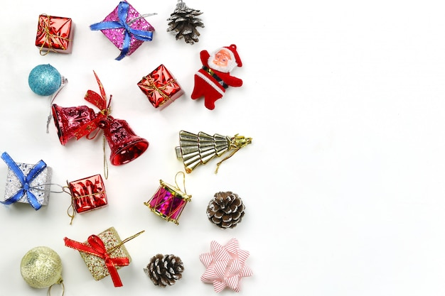 Christmas decoration equipment on white background.