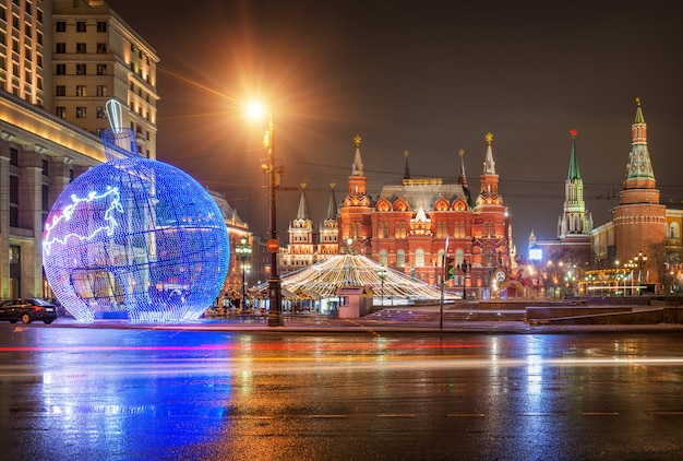 Christmas decoration in the form of a blue christmas ball on manezhnaya square in moscow
