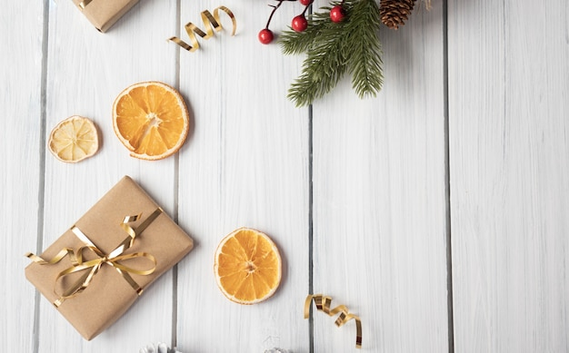 Christmas decoration frame on wooden background, christmas composition