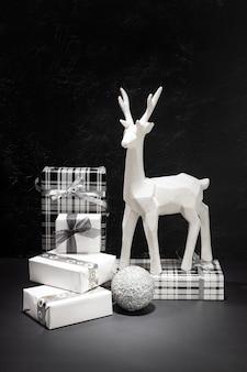 Christmas decoration and gift box group. christmastime concept.