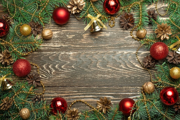 Christmas decoration gift box and pine tree branches