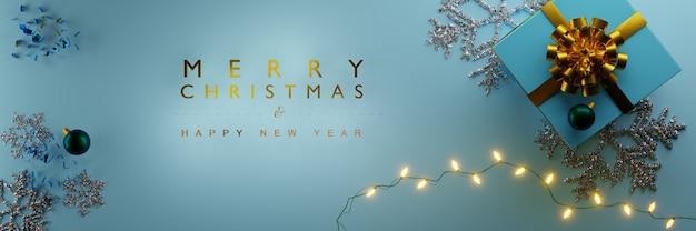 크리스마스 장식 선물 및 bokeh background.3d 렌더링