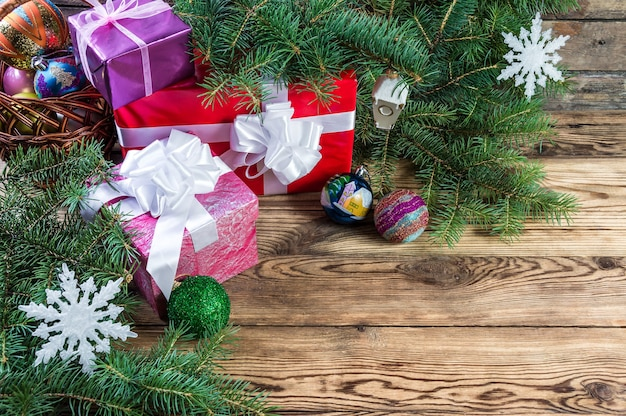 Christmas decoration and gifts background