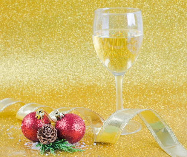Christmas decoration on glitter yellow