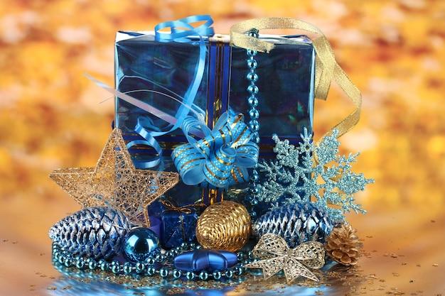 Christmas decoration on golden background