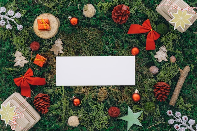 Christmas decoration on grass with banner