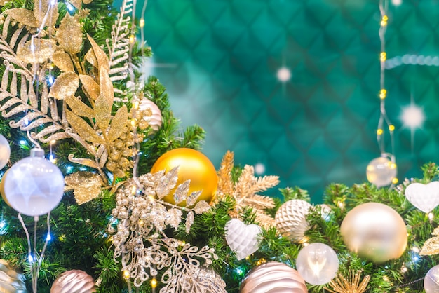 Christmas decoration on a green background