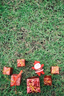 Christmas decoration on green lawn.