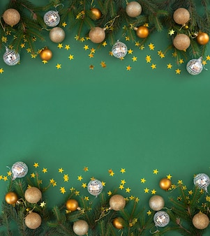 Christmas decoration on green surface
